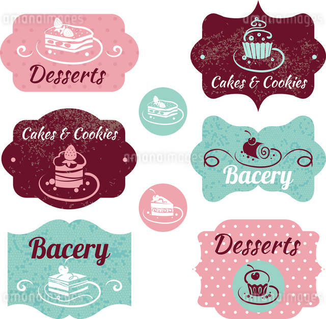 Set of vintage bakery labels. Vintage frames with cupcakesのイラスト素材 [FYI03065291]
