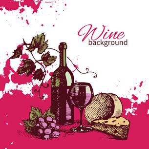 Wine vintage background. Hand drawn illustrationのイラスト素材 [FYI03065299]