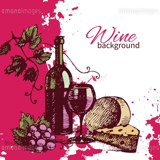 Wine vintage background. Hand drawn illustration. Splash blob retro designのイラスト素材 [FYI03065300]