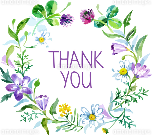 Thank you card with watercolor floral bouquet. Vector illustrationのイラスト素材 [FYI03065301]
