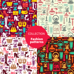 Fashion patterns. Set of seamless patterns with beauty female iconsのイラスト素材 [FYI03065339]