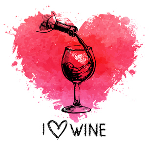 Wine vintage background with banner. Hand drawn sketch illustration with splash watercolor heartのイラスト素材 [FYI03065375]