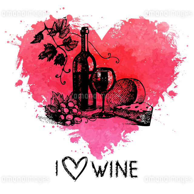 Wine vintage background with banner. Hand drawn sketch illustration with splash watercolor heartのイラスト素材 [FYI03065378]