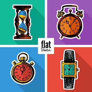 Set of sketch hand drawn clocks. Flat iconsのイラスト素材 [FYI03065381]