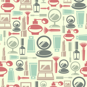 Seamless pattern with cosmetic iconsのイラスト素材 [FYI03065384]
