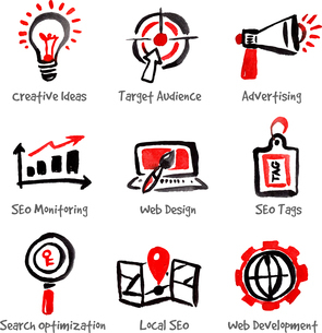 SEO and internet optimization icon set. Hand drawn watercolor isolated vector illustrationsのイラスト素材 [FYI03065433]