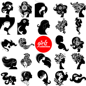 Beautiful women silhouette. Girls collection. Set of vector illustrationsのイラスト素材 [FYI03065603]