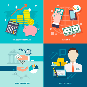 Bank service best investment payments world economy gold reserves flat icons set isolated vector illのイラスト素材 [FYI03065604]