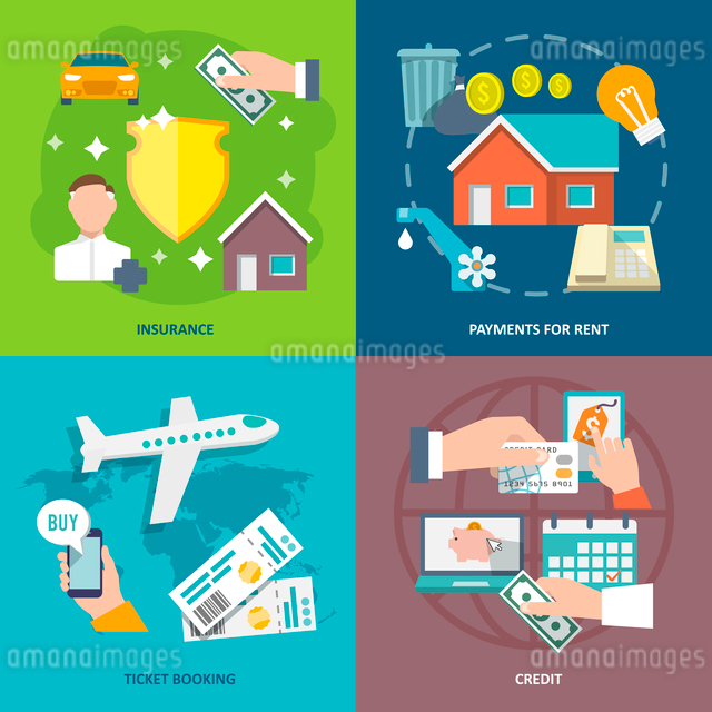 Pay bill insurance rent payments ticket booking credit flat icons set isolated vector illustrationのイラスト素材 [FYI03065607]
