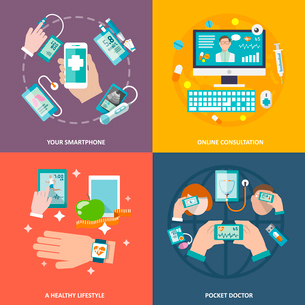 Digital health your smartphone online consultation healthy lifestyle pocket doctor icons flat set isのイラスト素材 [FYI03065613]