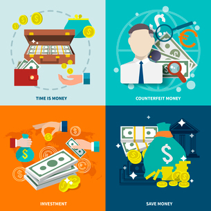 Money wealth market exchange  flat icons set with counterfeit investment isolated vector illustratioのイラスト素材 [FYI03065616]