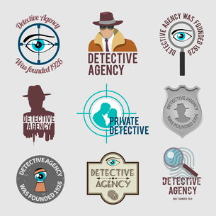 Police private detective agency labels badges and stamps set isolated vector illustrationのイラスト素材 [FYI03065620]