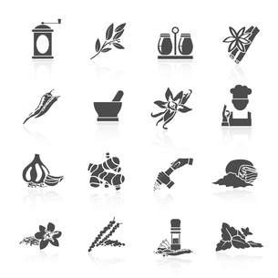 Herbs and spices black icons set of vanilla basil nutmeg isolated vector illustrationのイラスト素材 [FYI03065624]