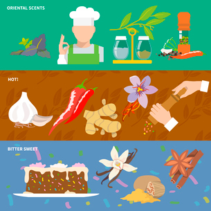 Herbs and spices oriental scents pepper hot bitter sweet banner set isolated vector illustrationのイラスト素材 [FYI03065625]