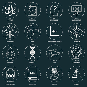 Science areas outline icons set with physics chemistry psychology isolated vector illustrationのイラスト素材 [FYI03065631]