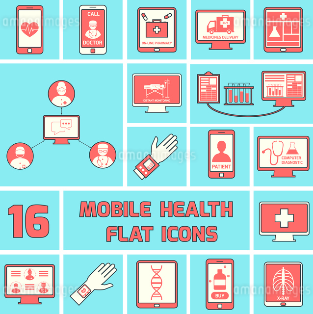 Mobile health call doctor online pharmacy icons flat line set isolated vector illustrationのイラスト素材 [FYI03065632]