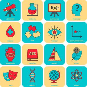 Science areas flat line icons set with astronomy chemistry mathematics symbols isolated vector illusのイラスト素材 [FYI03065633]