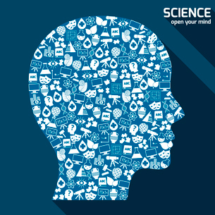 Science areas icons set in human head shape open your mind concept vector illustration.のイラスト素材 [FYI03065636]