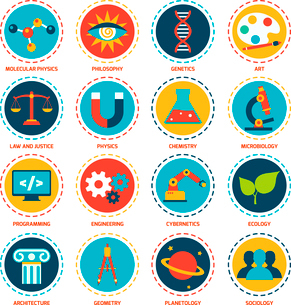 Science areas icons set with molecular physics philosophy genetics art isolated vector illustrationのイラスト素材 [FYI03065641]