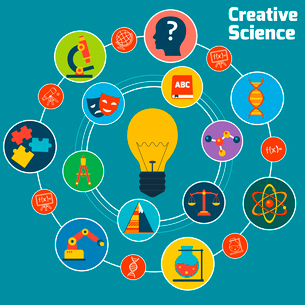Creative science concept with education areas colored icons set and lightbulb in the middle vector iのイラスト素材 [FYI03065643]