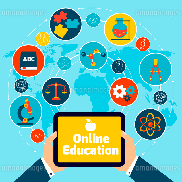 Online education concept with science icons human hand holding mobile tablet vector illustration.のイラスト素材 [FYI03065644]