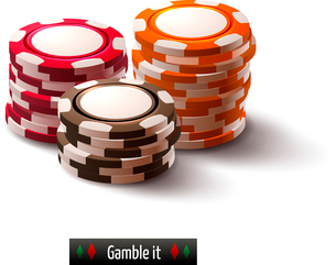 Casino roulette gambling realistic chip stacks isolated on white background vector illustrationのイラスト素材 [FYI03065652]