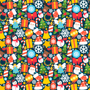 Christmas holiday decoration seamless pattern with mistletoe candle gift box sock vector illustratioのイラスト素材 [FYI03065657]