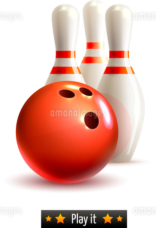 Bowling ball and pins realistic game set isolated on white background vector illustrationのイラスト素材 [FYI03065659]