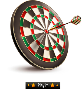 Darts board goal target competition realistic isolated on white background vector illustrationのイラスト素材 [FYI03065661]