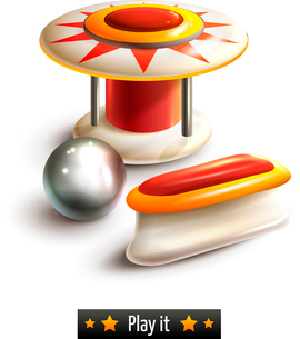 Pinball leisure game machine realistic set isolated on white background vector illustrationのイラスト素材 [FYI03065662]