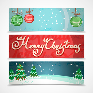 Merry christmas new year holiday elements horizontal banners set isolated vector illustrationのイラスト素材 [FYI03065664]