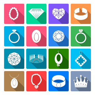 Jewelry icons flat set of precious fashion accessories isolated vector illustrationのイラスト素材 [FYI03065669]