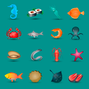 Seafood icons set with fish octopus shrimp stingray isolated vector illustrationのイラスト素材 [FYI03065673]