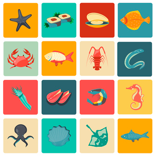 Seafood icons flat set with seahorse eel stingray sushi isolated vector illustrationのイラスト素材 [FYI03065674]