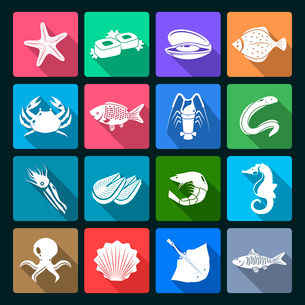 Seafood icons white set with shellfish crab squid oyster isolated vector illustrationのイラスト素材 [FYI03065676]