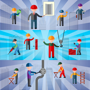 Construction flat horizontal banners set with working people isolated vector illustrationのイラスト素材 [FYI03065684]