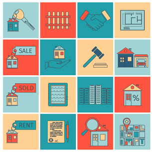 Real estate flat line icons set of house apartment and commercial property isolated vector illustratのイラスト素材 [FYI03065687]