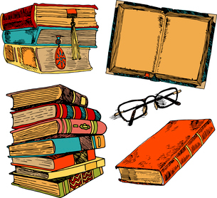 Vintage books stack sketch decorative icons set with glasses isolated vector illustrationのイラスト素材 [FYI03065697]