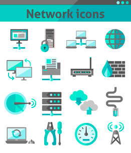 Network security internet communication icons set isolated vector illustrationのイラスト素材 [FYI03065703]