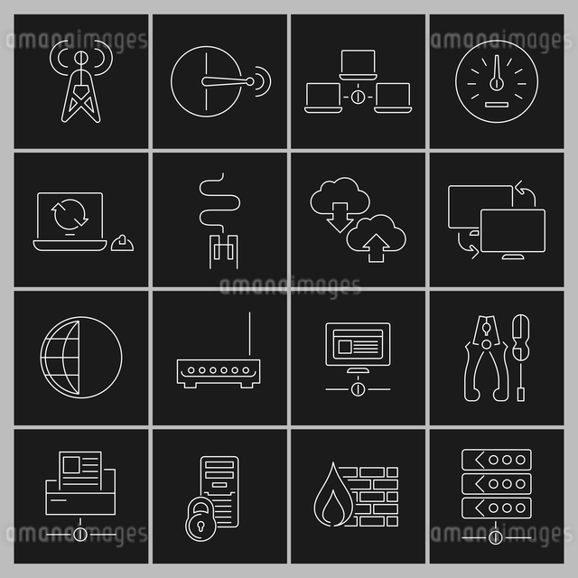 Network data security internet router outline icons set isolated vector illustrationのイラスト素材 [FYI03065704]