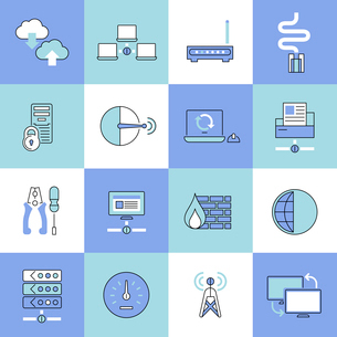 Network data security web technology flat line icons set isolated vector illustrationのイラスト素材 [FYI03065705]