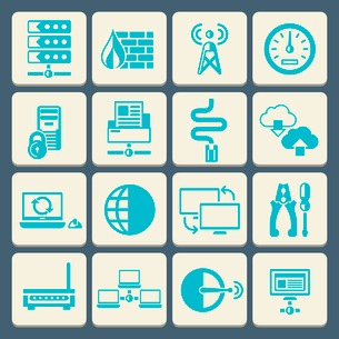 Network data security web control technology flat button icons set isolated vector illustrationのイラスト素材 [FYI03065706]