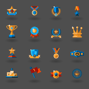 Award icons flat set of champion cup winner prophy isolated vector illustrationのイラスト素材 [FYI03065708]