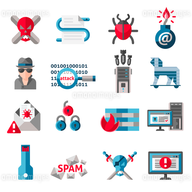 Hacker activity computer and e-mail spam viruses icons set isolated vector illustrationのイラスト素材 [FYI03065709]