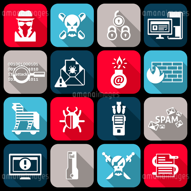 Hacker web protection icons flat set with virus worm crack isolated vector illustrationのイラスト素材 [FYI03065710]