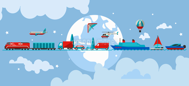 Transport concept with water air ground vehicles in line with earth on background vector illustratioのイラスト素材 [FYI03065712]