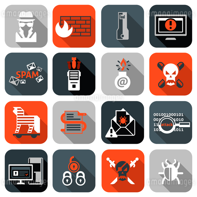 Hacker web security icons flat set with firewall computer spam isolated vector illustrationのイラスト素材 [FYI03065715]