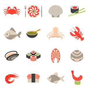 Seafood fish menu restaurant icons set flat with crab shrimps shell roll isolated vector illustratioのイラスト素材 [FYI03065717]