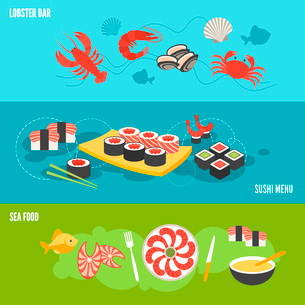 Seafood banner set with sea food lobster bar sushi menu isolated vector illustrationのイラスト素材 [FYI03065719]