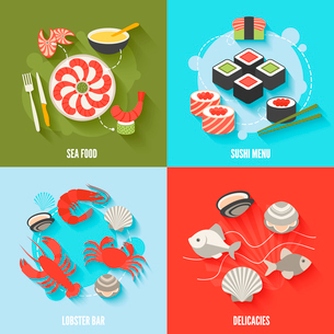 Seafood flat icons set with sushi menu lobster bar delicacies isolated vector illustrationのイラスト素材 [FYI03065721]